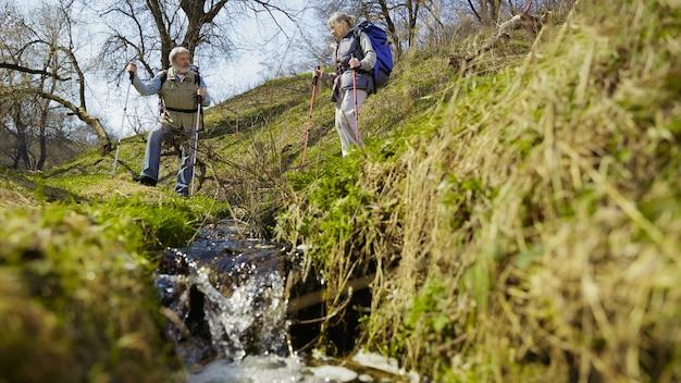 Amor e união. casal idoso da família formado por um homem e uma mulher em roupa de turista caminhando em um gramado verde perto de árvores e riacho em dia ensolarado