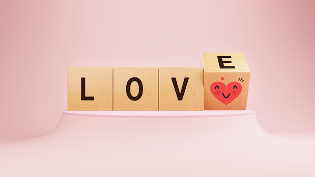 Amor emoji em cubos de madeira dia dos namorados e emoções