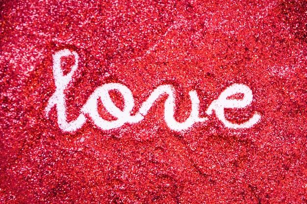 Amor escrevendo em glitter brilhante