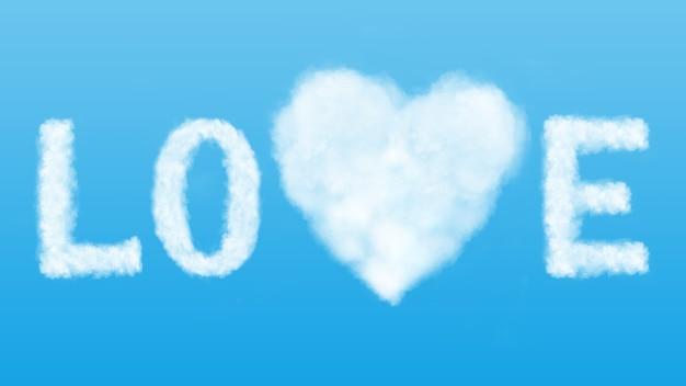 Amor no conceito de ar. palavra de amor e símbolo do coração feito de nuvens brancas no céu azul