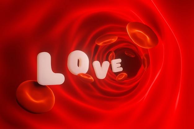 Amor pelo conceito de células vermelhas do sangue. renderização 3d.