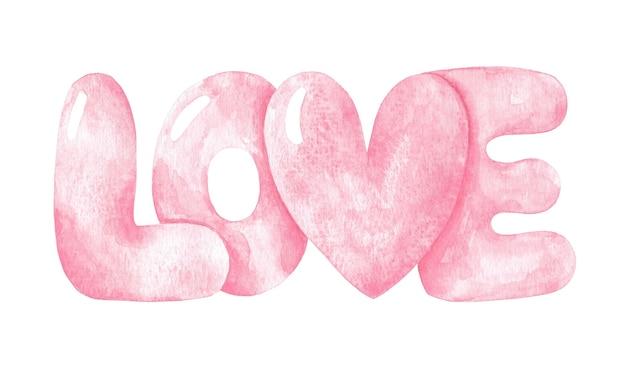 Amor rosa letras amor ilustração dia dos namorados projeto palavra inflada para 14 de fevereiro