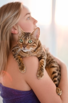 Amor ternura cuidado proteção. vínculo humano e animal. animais de estimação do gato. hora de abraçar