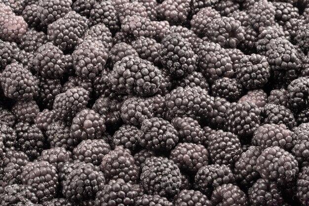 Amora fresca congelada. fundo de alimentos de frutas.