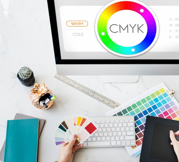 Amostra de conceito de espectro de design de amostra de cores cmyk