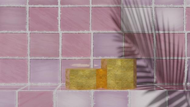 Amostra de produtos de banho sobre fundo de azulejos para amostra de perfumaria e produtos de banho.