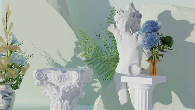 Amostra de produtos em um fundo gruiegostyle fundo desfocado d renderização