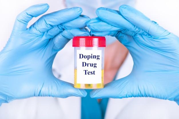 Amostra de urina de laboratório para teste de drogas ou substância psicoativa