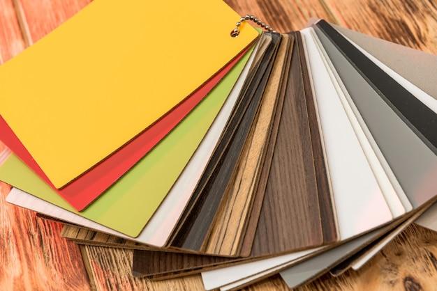 Amostrador de piso em parquet, catálogo de tábuas de carvalho ou laminado. material de madeira, amostrador de madeira para o seu design de móveis