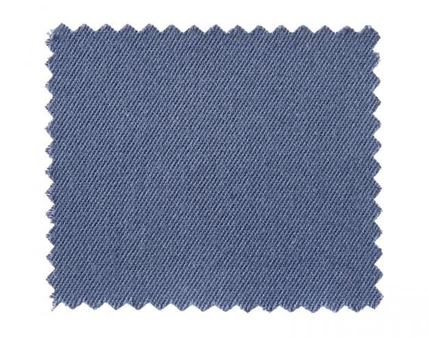Amostras de amostra de tecido azul, isoladas no fundo branco