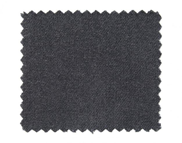 Amostras de amostra de tecido preto isoladas no fundo branco