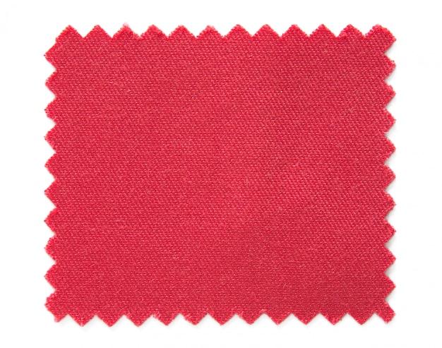 Amostras de amostra de tecido vermelho isoladas no fundo branco