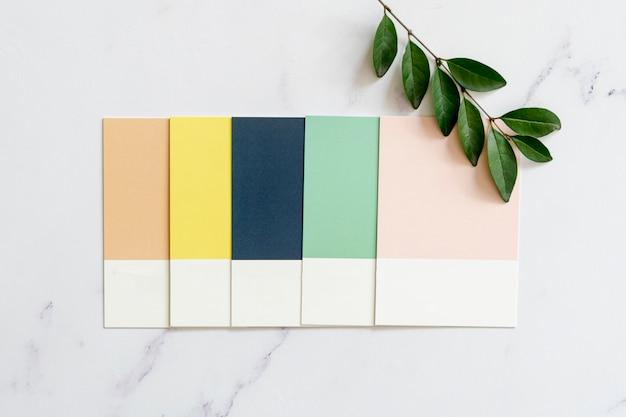 Amostras de cores no fundo liso