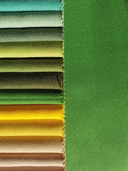 Amostras de fundo de textura de tecido colorido. escala verde.
