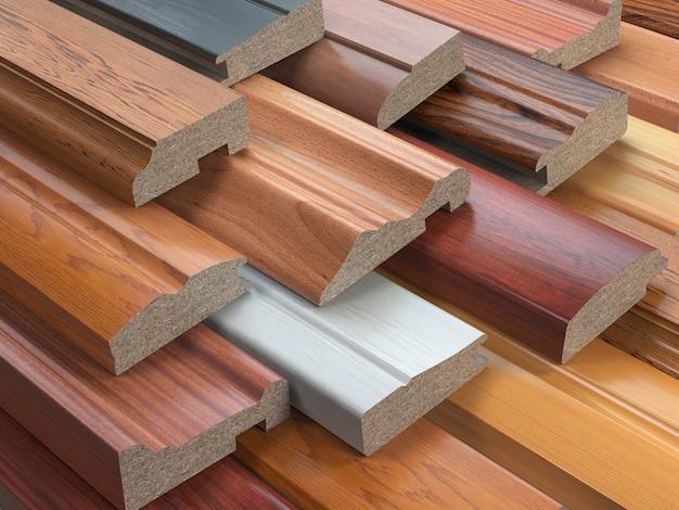 Amostras de perfis de mdf de móveis de madeira, diferentes painéis de fibra de média densidade. ilustração 3d