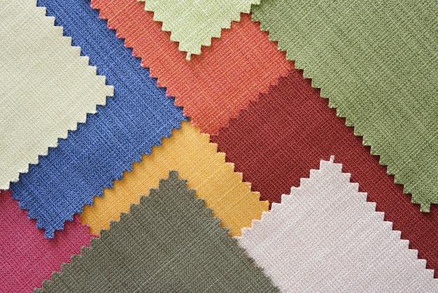 Amostras de textura de tecido de várias cores