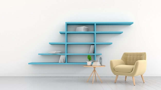 Ampla sala com poltronas e prateleiras anexadas a uma parede branca, renderização em 3d