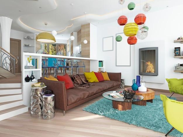 Ampla sala de estar luxuosa em estilo kitsch com grande sofá de couro marrom