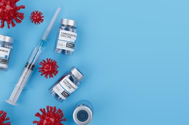 Ampolas com vacina covid-19 em uma bancada de laboratório