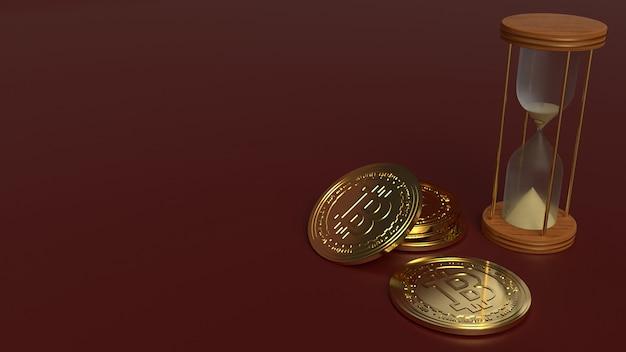 Ampulheta de renderização 3d e bitcoin para criptomoeda