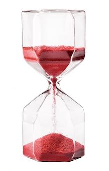Ampulheta de vidro vintage com areia vermelha
