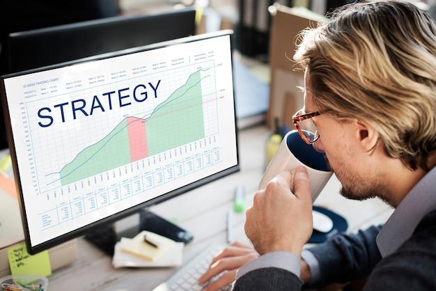 Análise de estratégia, planejamento, visão, conceito de sucesso empresarial