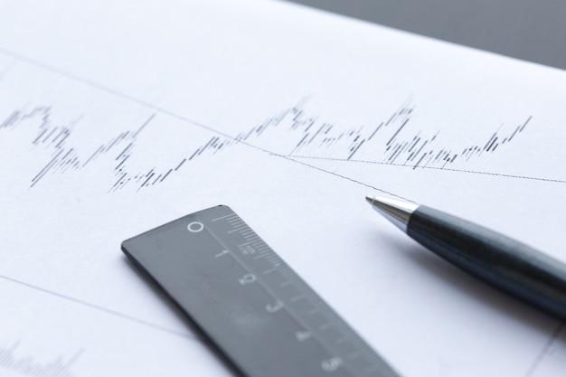 Análise de gráficos financeiros em papel