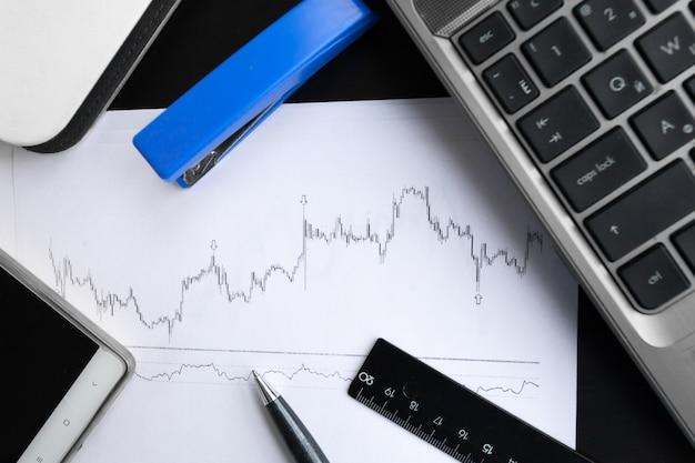Análise de gráficos financeiros na mesa
