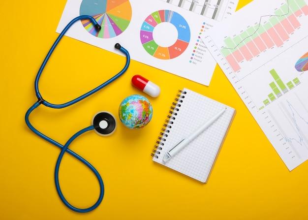Análise de risco da pandemia global. globo, estetoscópio, gráficos e tabelas em um fundo amarelo. vista do topo. surto de coronovírus