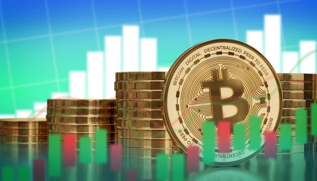 Análise gráfica de alto preço de criptomoeda digital bitcoin 3d render ilustração de fundo
