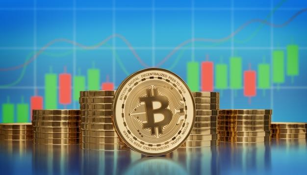 Análise gráfica de criptomoeda digital bitcoin ilustração 3d render fundo