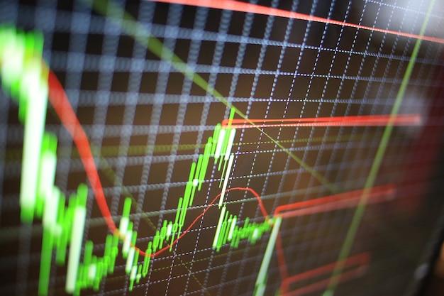 Análise gráfica do mercado de ações para investimentos financeiros. gráfico do mercado de bolsa de valores