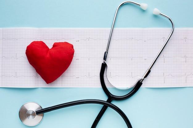 Análises de pulso médico e estetoscópio