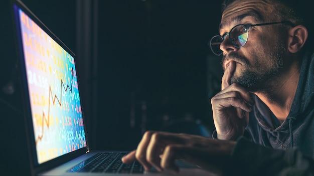 Analista de comerciante de homem de negócios sério olhando para um monitor de computador, corretor de investidores analisando índices, gráfico financeiro, negociando dados de investimento on-line no gráfico do mercado de ações criptomoeda na tela do pc.
