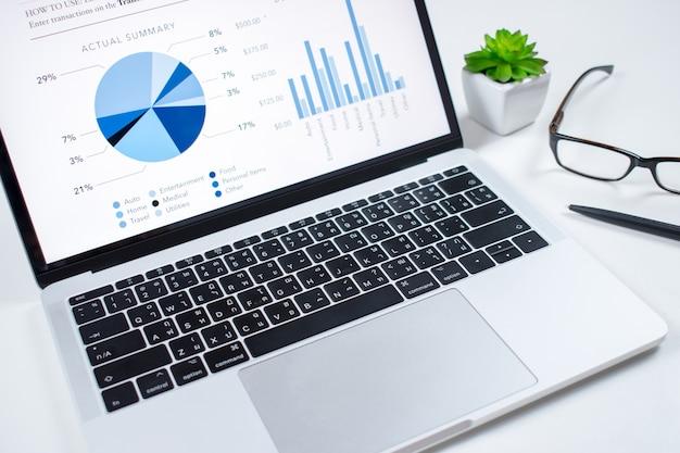 Analista financeiro no mercado na tela do computador na mesa branca.