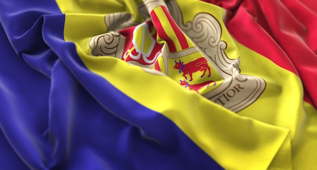 Andorra flag ruffled beautifully waving macro close-up shot