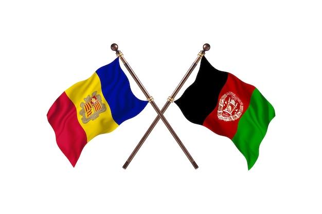 Andorra versus afeganistão, fundo de bandeiras de dois países