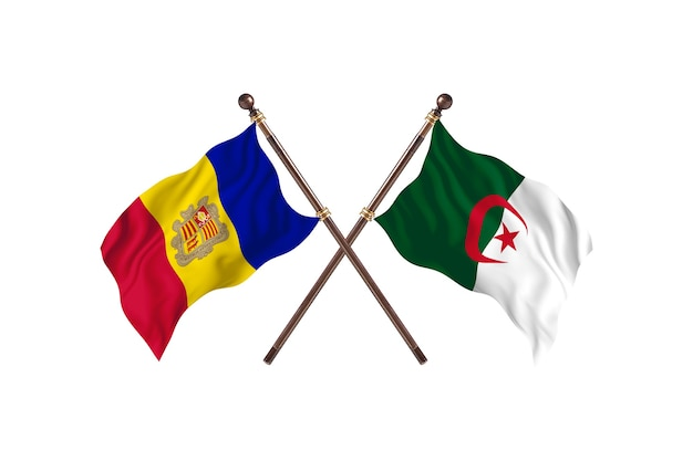Andorra versus argélia fundo de bandeiras de dois países