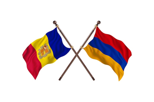 Andorra versus armênia fundo das bandeiras de dois países