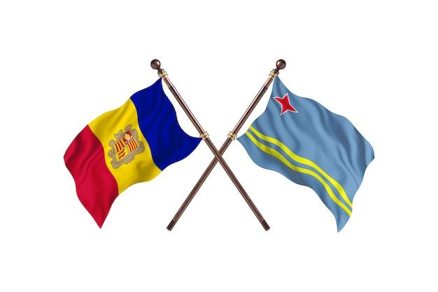 Andorra versus aruba fundo das bandeiras de dois países