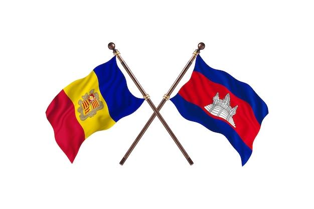 Andorra versus camboja fundo de bandeiras de dois países