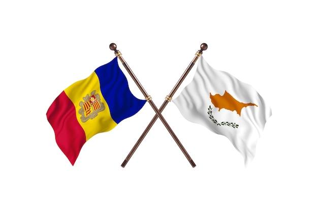 Andorra versus chipre fundo das bandeiras de dois países