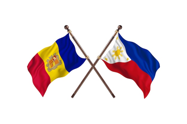 Andorra versus filipinas fundo de bandeiras de dois países