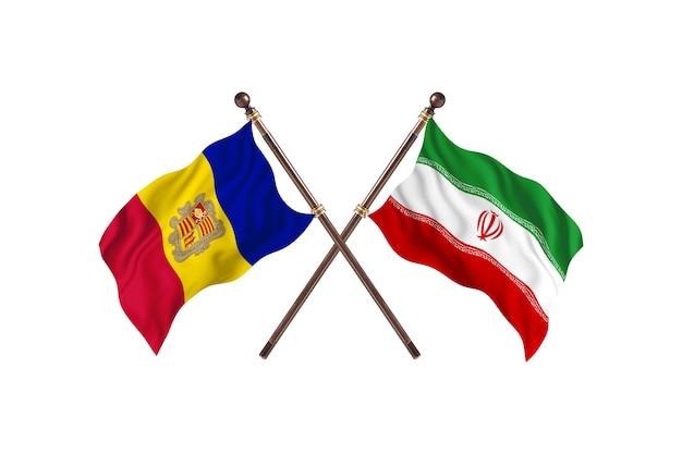 Andorra versus irã - fundo de bandeiras de dois países