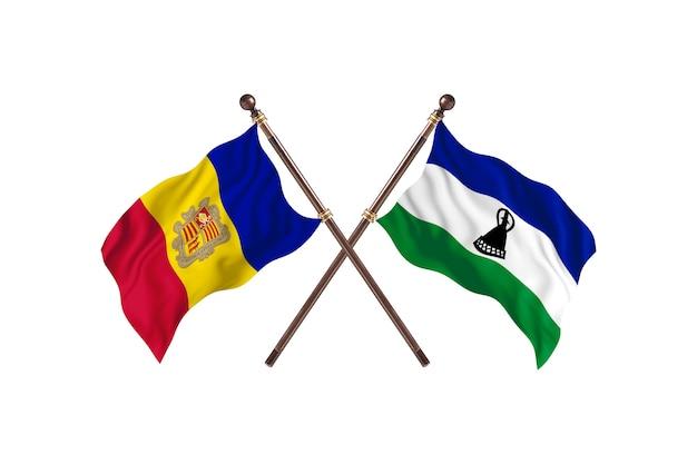 Andorra versus lesoto - fundo de bandeiras de dois países