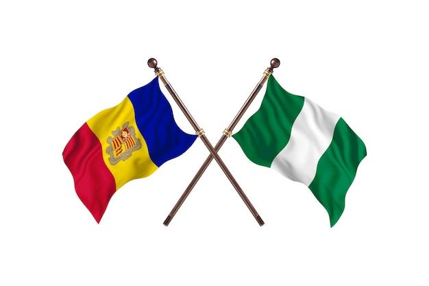 Andorra versus nigéria fundo das bandeiras de dois países