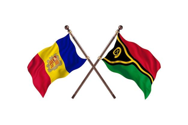 Andorra versus vanuatu fundo das bandeiras de dois países