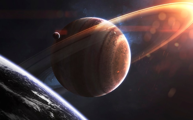 Anéis brilhantes de gigante gasoso, papel de parede incrível de ficção científica, paisagem cósmica. elementos desta imagem fornecidos pela nasa