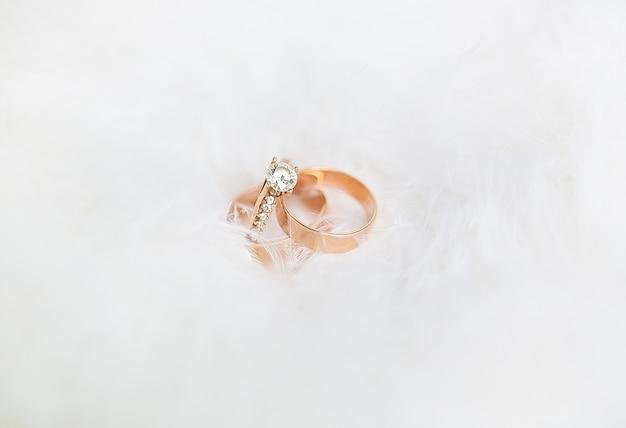 Anéis de casamento bonitos em um branco