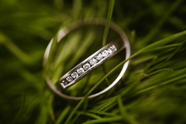 Anéis de casamento nupcial bonitos na grama